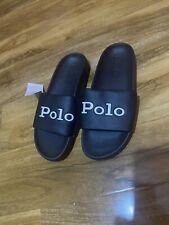 Polo Ralph Lauren Black Cayson Sliders Slippers Size 6.5 UK  Brand New