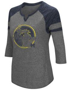 """Michigan Wolverines NCAA Women's """"Par"""" 3/4 Sleeve Tri-Blend Notch Neck Shirt"""