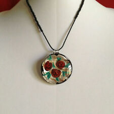 Murano Glass Rose Pendant Necklace Handmade with Silver Leaf New Italy