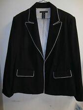 APOSTROPHE Black Suit Jacket GREY Piping SZ 16W NWT NOS