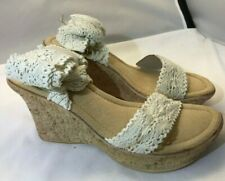NIB Classified Lacie Cork Platform Wedge Off White Lace Ankle Wrap Sandals Sz 9