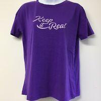 Ladies Stradivarious Purple Motif T Shirt Top Size M (692b)