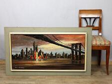 ÖL GEMÄLDE ÄLTER 117x67cm SIGNIERT ABSTRAKT SAN FRANCISCO NEW YORK ? SKYLINE