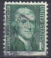 USA Briefmarke gestempelt 1c Thomas Jefferson Rundstempel / 1795