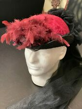 Red Velvet Hat, Decorated - Woman's Victorian Old West, Edwardian, Steampunk