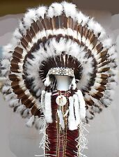 "Genuine Native American Navajo 36"" Indian Headdress AMERICAN HERITAGE brown whit"