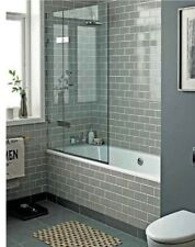 TILE SAMPLES New York Flat Warm Grey Gloss Metro Bathroom Wall Tiles 10 x 20