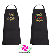 Mr Right Mrs Always Right Aprons Personalised Apron Couples Gift wedding gift
