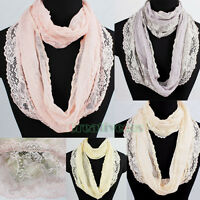 Women Fashion Flower Floral Lace Mesh Solid Infinity Scarf Lady Loop Cowl Shawl