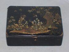 petite boite ancienne chine fin 19èmes  début 20èmes peinte