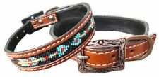Showman Couture Genuine leather dog collar with a beaded arrow inlay.