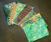 Batik Fat Quarter Green | Precut Cotton Fabric | Face Mask Quilting | Set of 7