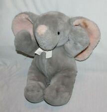 "15"" Vintage Dakin 1987 Cuddles Gray Pink Elephant Plush Ears Bow Stuffed Animal"