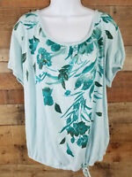Jane Ashley Top Casual Light Green Blue Studded Short Sleeve Blouse Size 2X