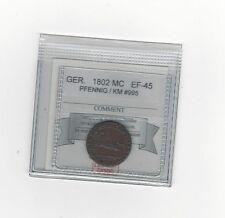 1802 Germany, Pfennig, Coin Mart Graded**EF-45**KM# 995
