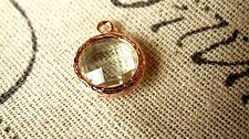 Round jewel charms clear glass rose gold jewellery supplies C50