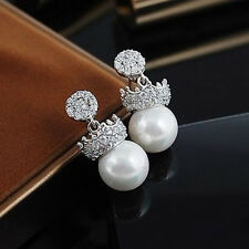 18K White Gold Plated Made With Swarovski Pearl Crown Princess Stud Earrings