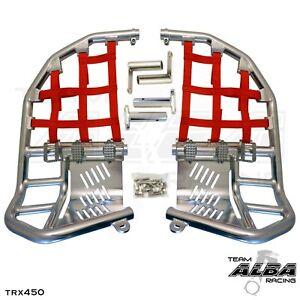 TRX 450R 450ER  Nerf Bars  Pro Peg Heel Guards  Alba Racing  Silver Red 218T7SR
