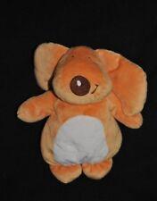 Peluche doudou chien orange blanc ORCHESTRA nez brun marron 20 Cm Etat NEUF