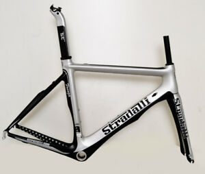 STRADALLI FAENZA FULL CARBON FIBER AERO ROAD BICYCLE FRAMESET SILVER BLACK BB30