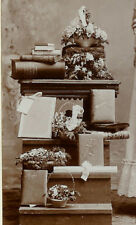 RARE PHOTOGRAPHIC PROPS: Woman with Books, Fan and Photo Albums Cabinet Card