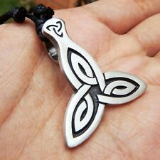 Triquetra Celtic Irish Trinity Knot Pewter Pendant And Cotton Necklace #135