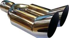 "11.75"" 300mm Chrome Stainless Steel Up Swept Twin Exhaust Tip Trim Piece ScrewOn"