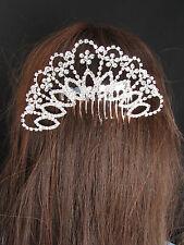 New Women Big Silver Head Metal Fans Flowers Fashion Dressy Hair Pin Rhinestones