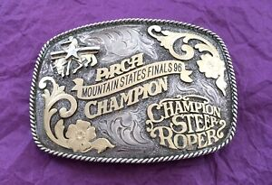 1996 PRCA MOUNTAIN STATE CHAMPION STEER ROPER SILVER 10K GOLD TROPHY BELT BUCKLE