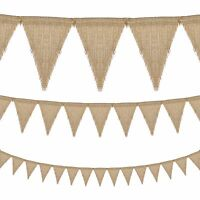 Shabby Chic Plain Natural Woven Jute Hessian Triangular Flag Bunting Decoration