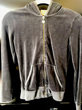 Womens JUICY COUTURE Gray Velour Hooded Zip Front Jacket Small