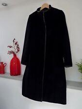 Ladies Lovely Debenhams Black Wool & Cashmere Knee Length Button Coat,12/14, Vgc