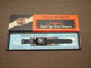 VINTAGE HIKING  1960S TRAIL BLAZER LUMINOUS WRIST COMPASS UNUSED IN RED BOX  NOS