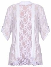 Womens Plus Size Ladies Lace Button Open Cardigan Short Sleeve14 - 28 White 22-24