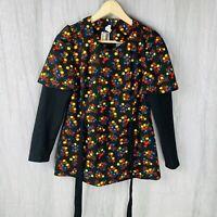 *VINTAGE* Black Multi Floral Tie Back SIZE 12 UK Long Sleeve Cute Top V1