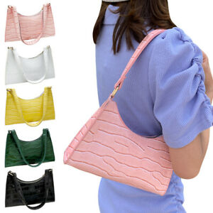Women PU Leather Baguette Bag Shoulder Handbag Underarm Bags Messenger Clutches