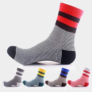 5 Pairs fashion Mens Sport Socks Lot High elastic Stripe Athletic long Socks