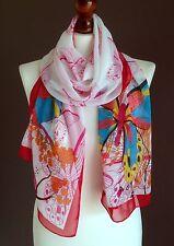 Lang Damen Weich Schmetterling Print Mode Schal weiß/rot BRANDNEU * Seide-Viskose