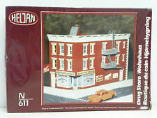 "HELJAN N SCALE U/A ""DRUG STORE"" PLASTIC MODEL KIT #611 ""N"" SCALE NEW OLD STOCK"