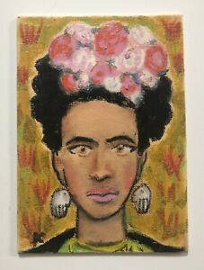 Original 'Frida Kahlo' Portrait Painting Green Flowers androgynous artwork