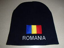 Romania Romanian Flag Embroidered on Navy Knit Beanie Hat