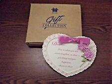 New listing Avon Daughter Heart Shape Pink Floral Ceramic Wall Plaque; Nib; Gift Idea!