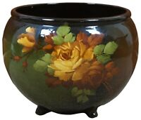 Vtg McCoy Loy-Nel-Art Pottery Footed Jardiniere Planter Hand Painted Yellow Rose