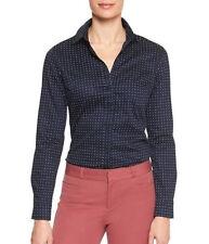 Banana Republic Womens Tailored Non-Iron Long Sleeve Dot Print Shirt Navy Sz  0