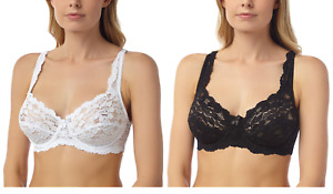 LACE FULL CUP NON-PADDED SUPPORT UNDERWIRED BRA, BLACK & WHITE, SIZE 34-44, B-DD
