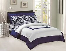 King Size 8pc Navy Blue & White Microfiber Comforter Set, Sheet Set Included