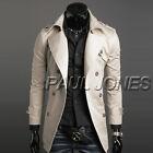 WINTER Men's Long Trench Coat Jacket Double Breasted Windbreaker Outerwear New @