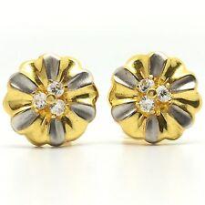 18K Two Tone Gold CZ Flower Stud Earrings