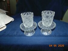 New Listing2 Partylite Quilted Crystal Pair Shell Rib Glass Votive Cup Candle Holders P9246