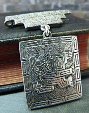 South American Tribal Design Silver Locket Pin/ Brooch